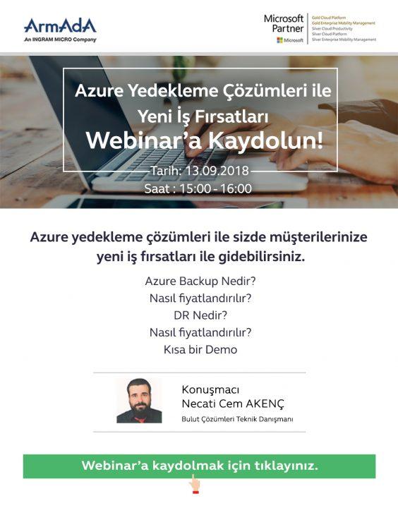 Azure Yedekleme Çözümleri İle Yeni İş Fırsatları Webinarına Davet!!